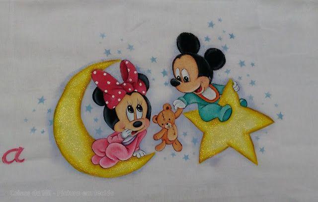 Coisas da nil pintura em tecido minnie e mickey ao luar pinturas pinterest pintura - Jeux de cuisine de mickey ...