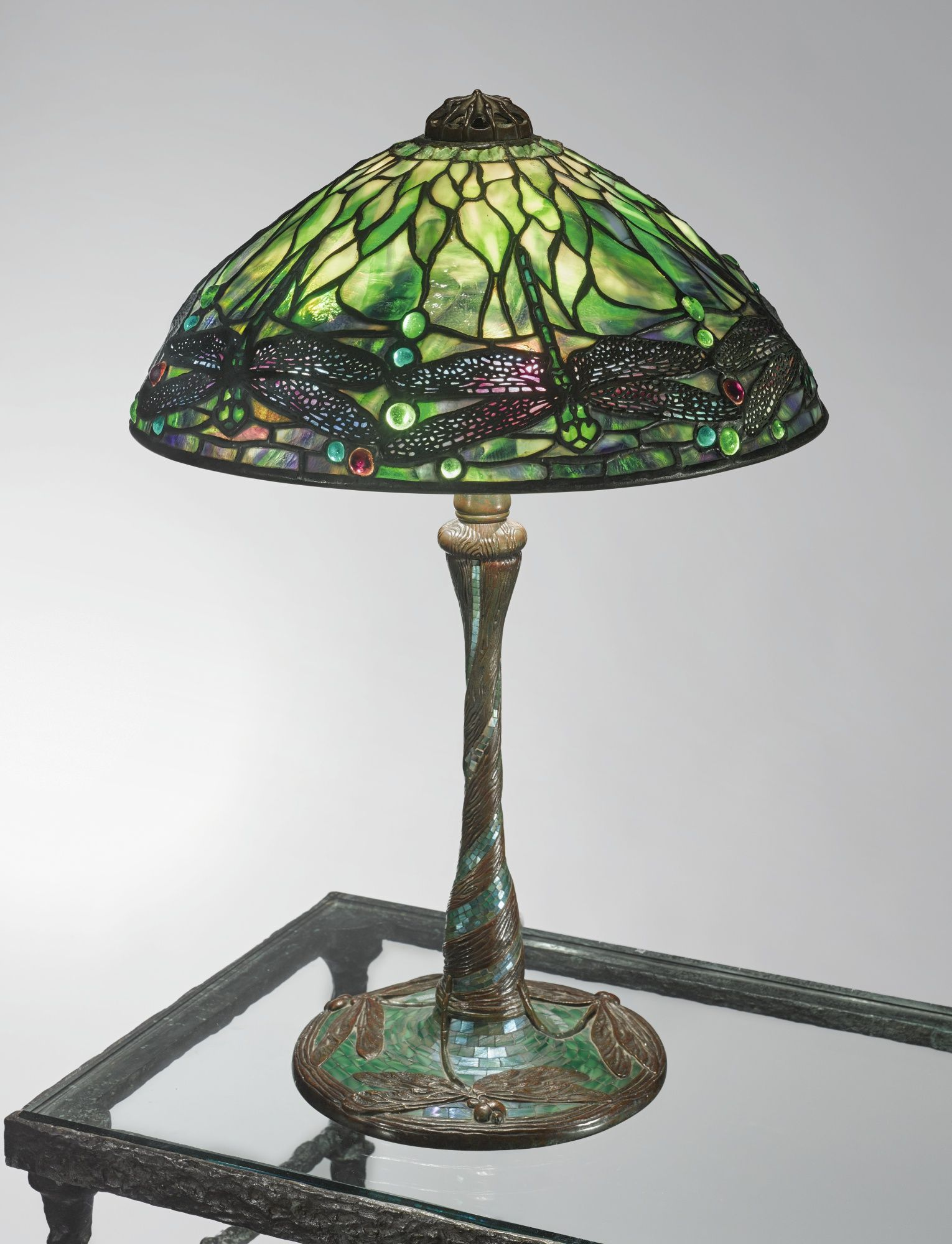 Tiffany Studios Dragonfly Table Lamp With A Rare Mosaic Glass