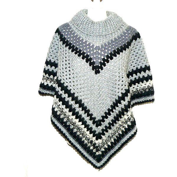Crochet Poncho Cowl Neck Poncho Black Poncho Boho Poncho Crochet