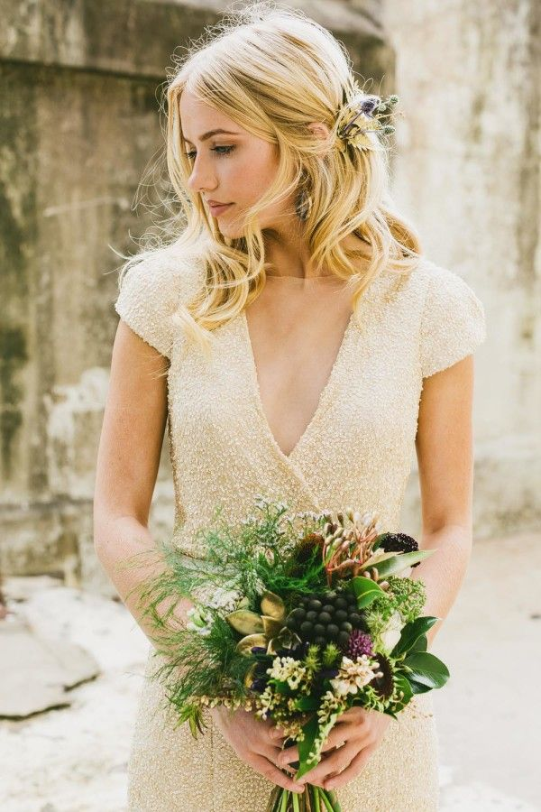 INDUSTRIAL WEDDING STYLING FROM HOPE & LACE | HAIR SEQUIN GOWN BOUQUET MAKE UP