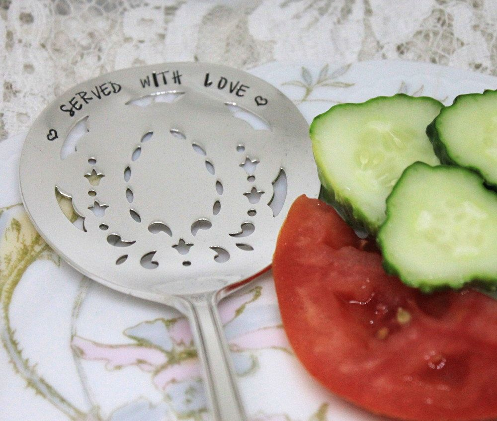 SALE Antique FRUITS & VEGGIE Server Hand Stamped - Makes a Nice Engagement Anniversary Wedding Gift - Served With Love - Century 1923 by SilverwareCreations on Etsy