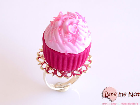 Hey, I found this really awesome Etsy listing at https://www.etsy.com/listing/121406271/food-jewelry-hot-pink-cupcake-ring