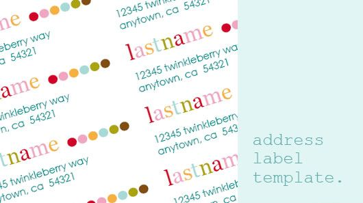 Printable colorful address label template, designed by Sarah Milne - Address Label