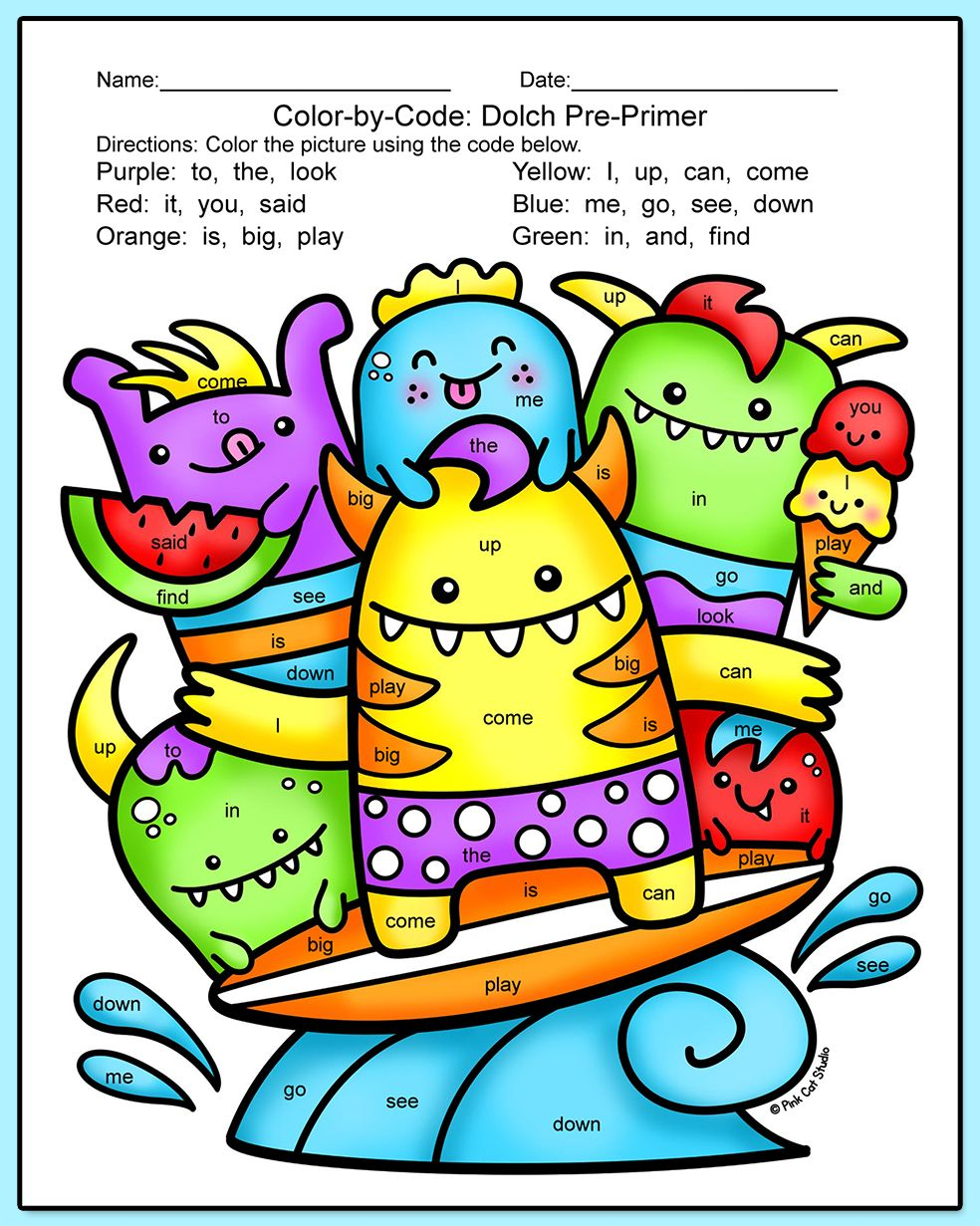 Colorordorksheets For Kindergarten Sight Download Coloring Pages ...