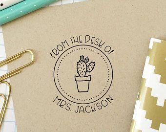 Custom Stamp Teacher From The Desk Of Clroom Cactus