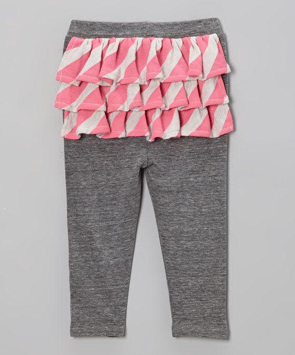 b69c4fd482d8e Gray & Neon Pink Stripe Ruffle Pants - Infant by Lake Park Kids #zulily  #zulilyfinds