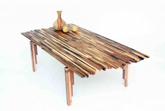 Beautiful Wildfire Table Made from Multi-tone Scraps of Acacia