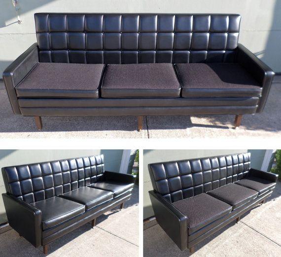 1950 S Mid Century Modern Black Sofa Couch Davenport