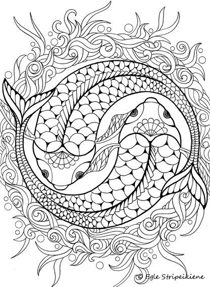 Koi, ying yang coloring page | Color me, please | Pinterest ...