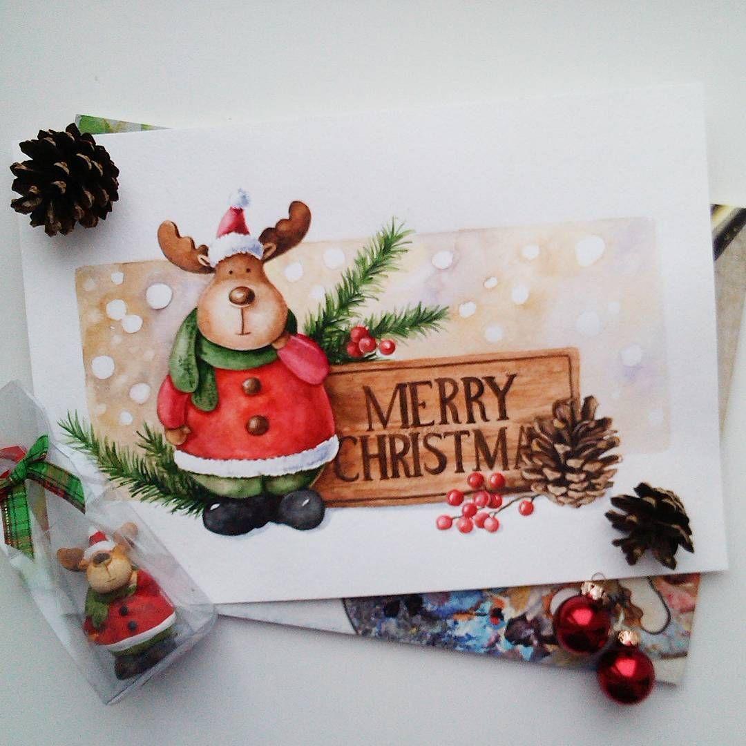 Новогодние акварельные открытки олень, картинки