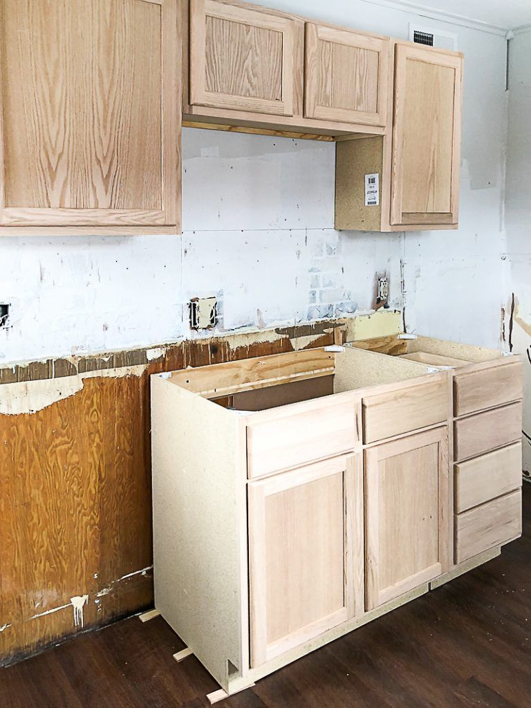 Unfinished Wood Cabinets In The Flip House Kitchen Unfinished Kitchen Cabinets Kitchen Cabinets Kitchen Cabinet Remodel