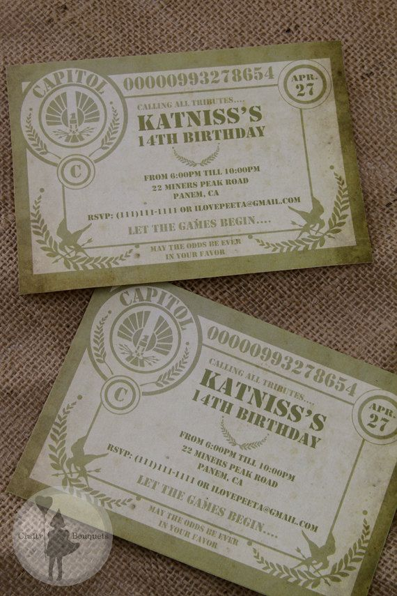 Our Customized Invitations from our Hunger Games Inspired Party ...