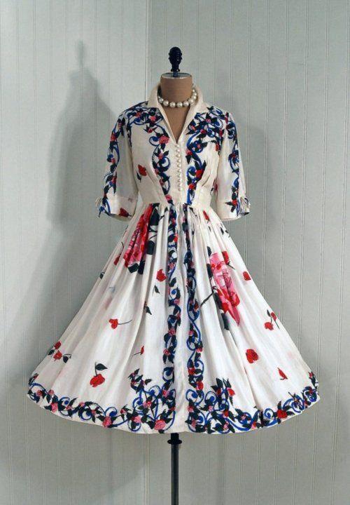 Dress - 1950s - Timeless Vixen Vintage #fashion #floral #dress #1950s #partydress #vintage #frock #retro #sundress #floralprint #petticoat #romantic #feminine