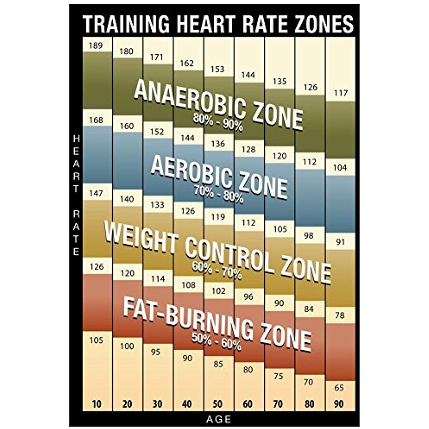 Training Heart Rate Zones Chart Modern Poster 13 X 19in You Can