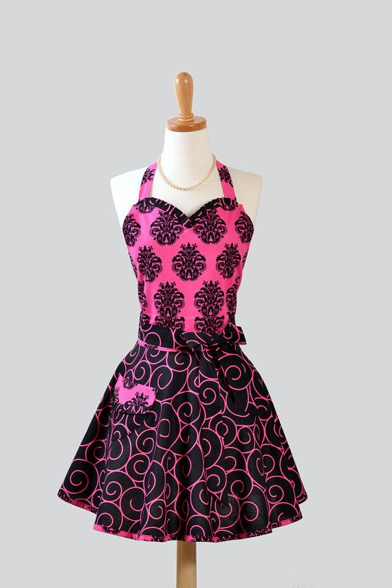 sweetheart retro apron sexy womens apron in fucshia and black damask with black and fucshia. Black Bedroom Furniture Sets. Home Design Ideas