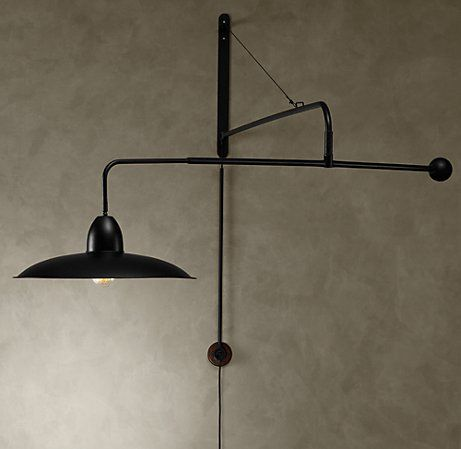 1940s Architect S Boom Large Sconce Antique Black Swing Arm Wall Lamps Restoration Hardware