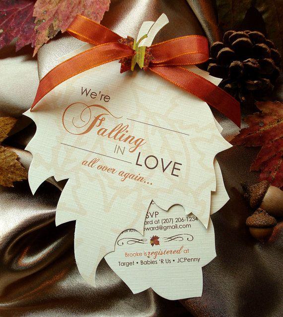 falling in love again - hand-cut leaf baby shower invitation,