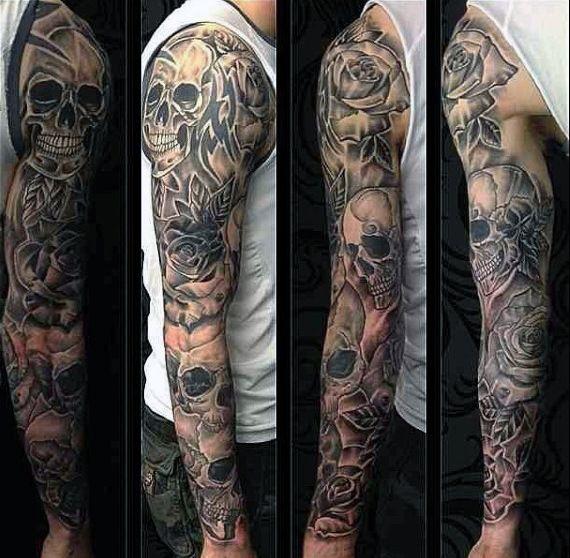 Tribal Skull Tattoo Sleeve: 50 Skull Sleeve Tattoos For Men
