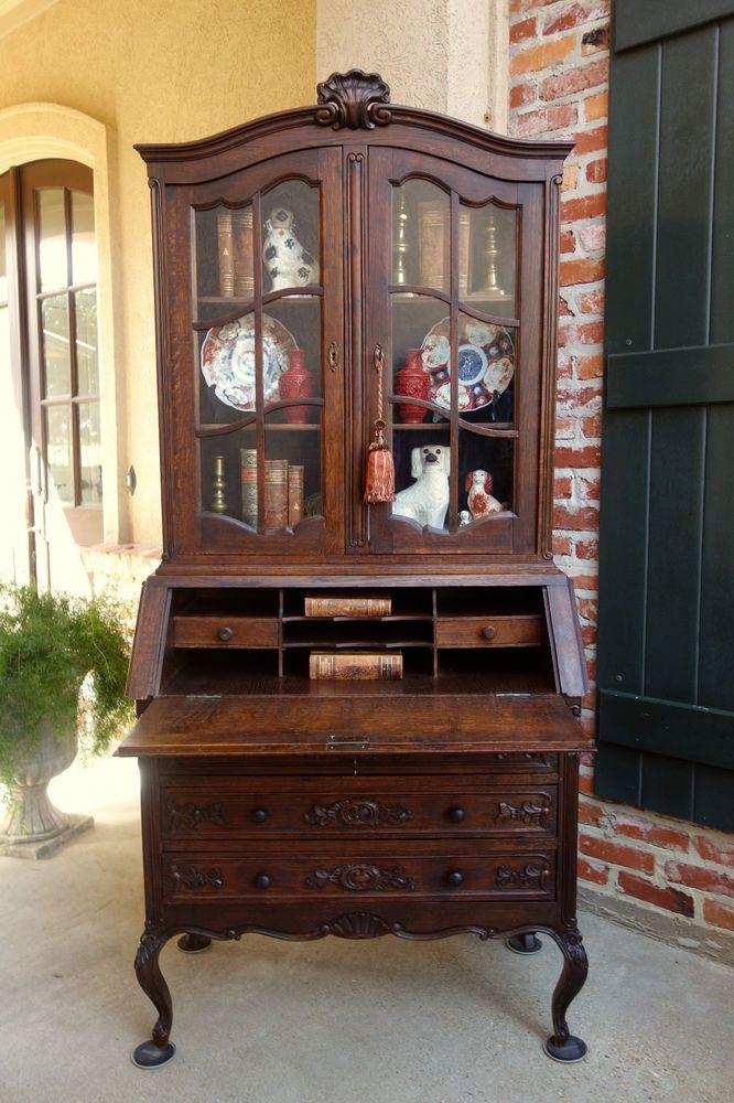 Antique French Carved Oak Desk Secretary Bureau Bookcase Louis Xv Drop Front Louisxv Secretary Desks Oak Desk Home Decor Furniture