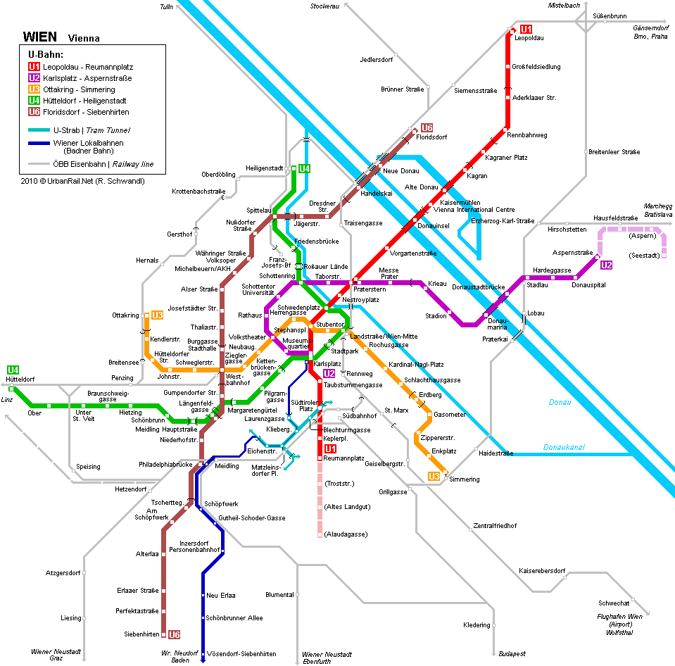 Wien Austria underground map ubahn sbahn u1 u2 u3 u4 u6