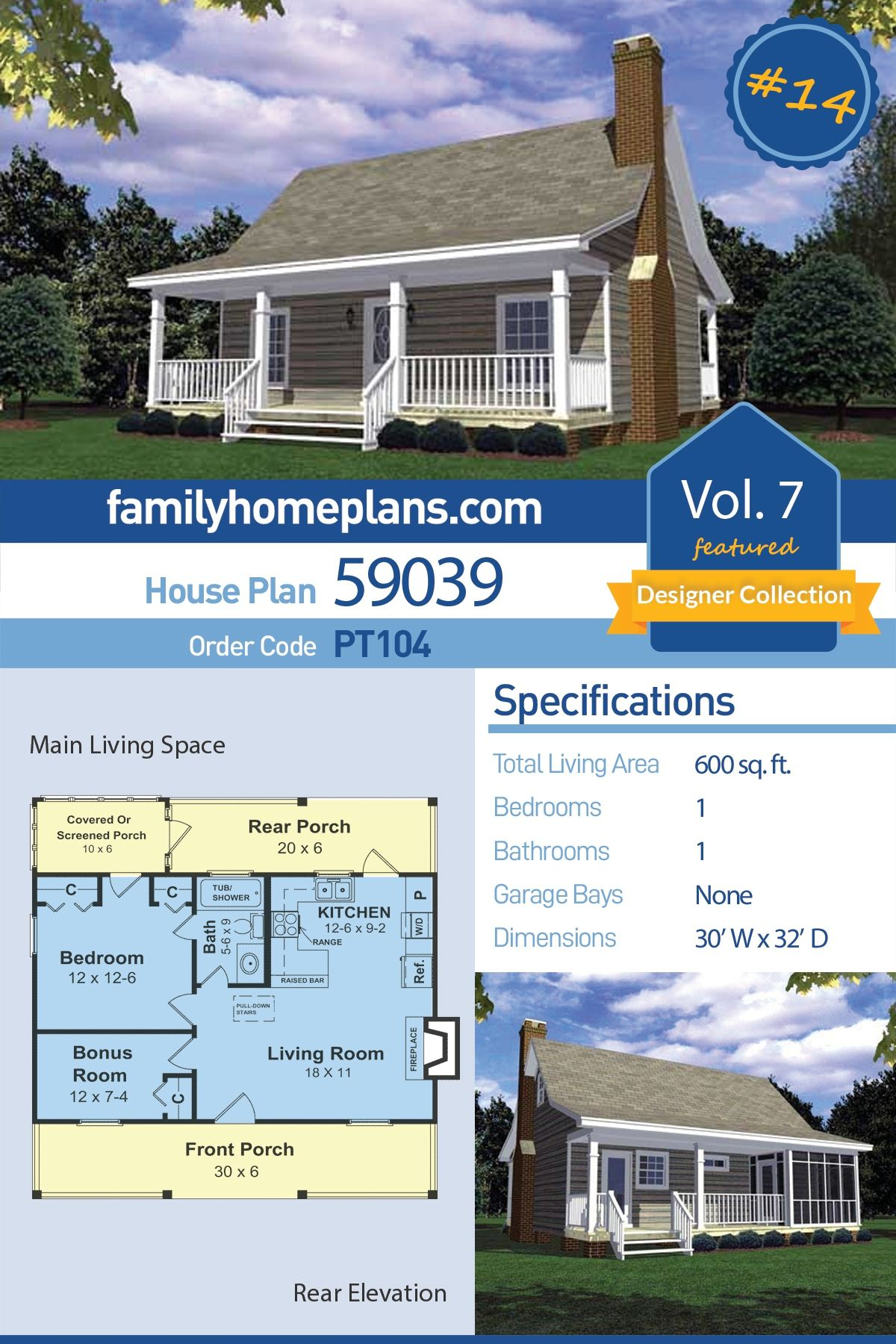 Cabin Style House Plan 1 Beds 1 Baths 600 Sq Ft Plan 21 108 Small House Floor Plans House Floor Plans Cabin Floor Plans