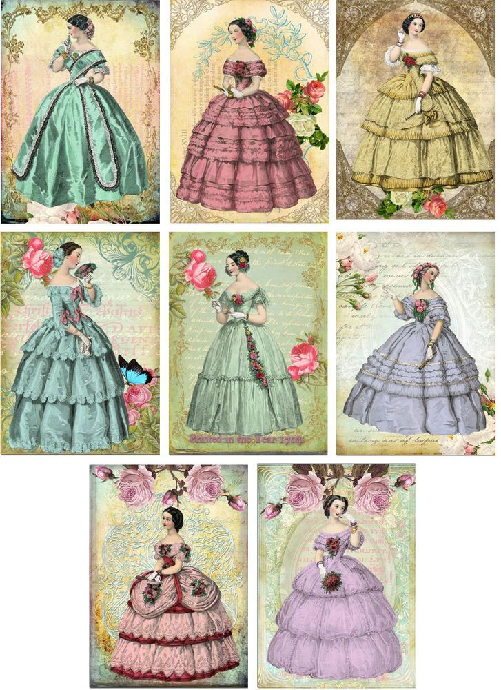 Vintage inspired Victorian ball gowns women stationery cards set 8 organza bag #Handmade