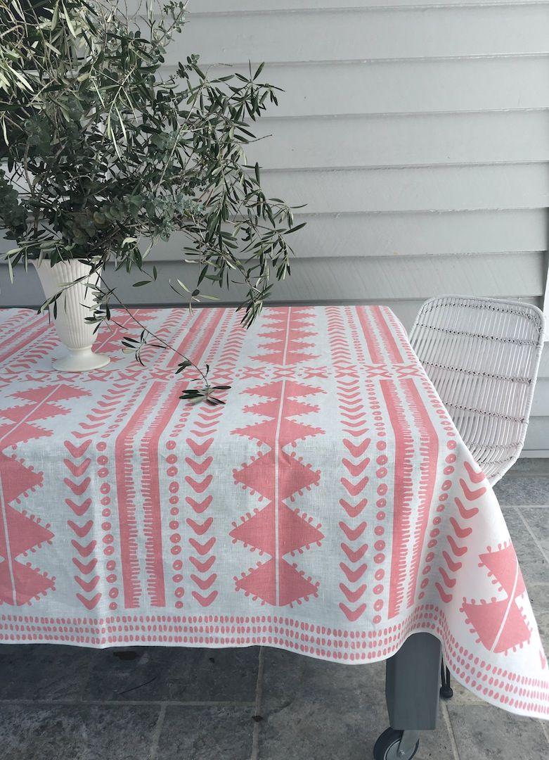 Blush Tribal Linen Tablecloth Aqua Door, Linen Tablecloth, Tablecloths,  Door Design, Blush