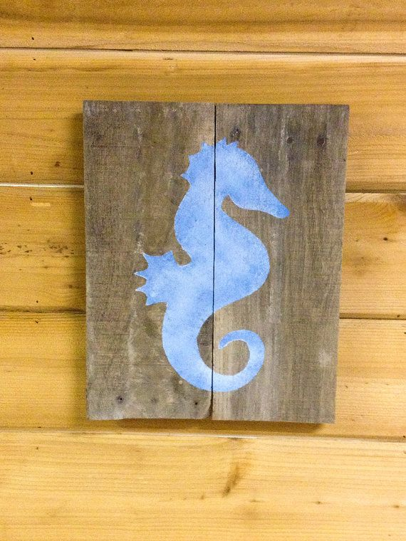 Seahorse Wall Decor - Rustic Nautical Wall decor, Shabby Chic beach ...