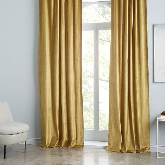 "Cotton Luster Velvet Curtain, Wasabi 48""x108"" In 2020"