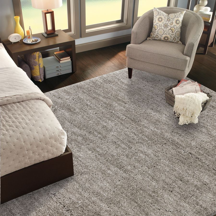 Shop Mohawk Home Rectangular Gray Solid Tufted Area Rug Common 8 Ft X 10 Ft Actual 96 In X 120 In At Lo Rug Under Bed Rugs In Living Room Grey Shag Carpet