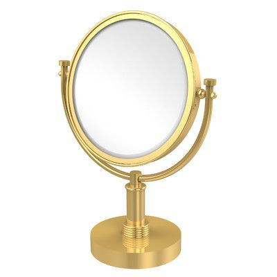 Allied Brass Vanity Top Make-Up Magnification Mirror with Groovy Detail Finish: Polished Brass, Magnification: 2x