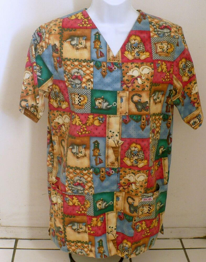 820796ad696 CHEROKEE Nurse Uniform Scrub Top Animal print Snap front 1750 KATZ Small  Vet #Cherokee #1750