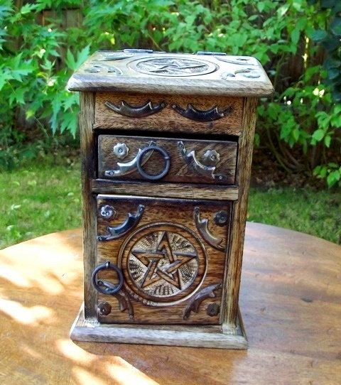 Witches Alchemy Chest, Herb Cupboard, Pentagram, Witches Apothecary