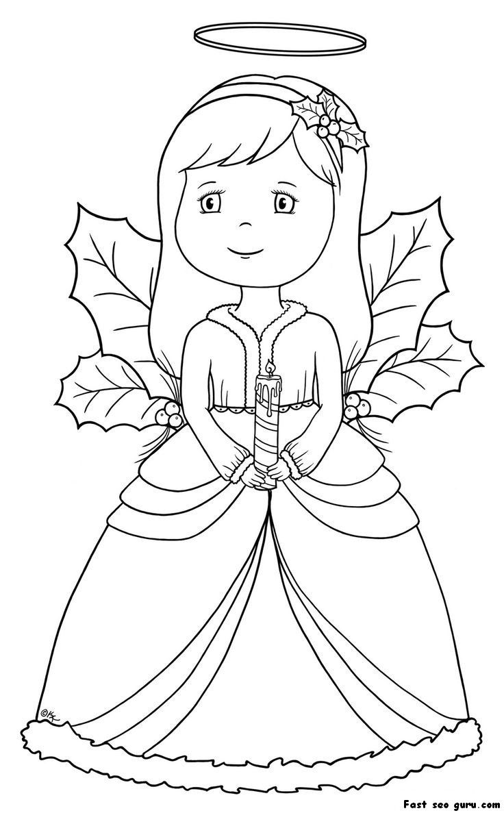 Christmas Angel Coloring Page | Angel coloring pages, Fairy ... | 1187x736