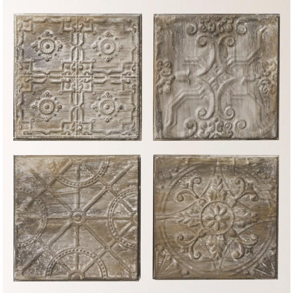 125 In H X 125 In W Antiqued Tin Tiles Wall Art Set Of 4