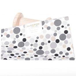 Coupon tissu coton noir & gris ronds - 40 x 60 cm