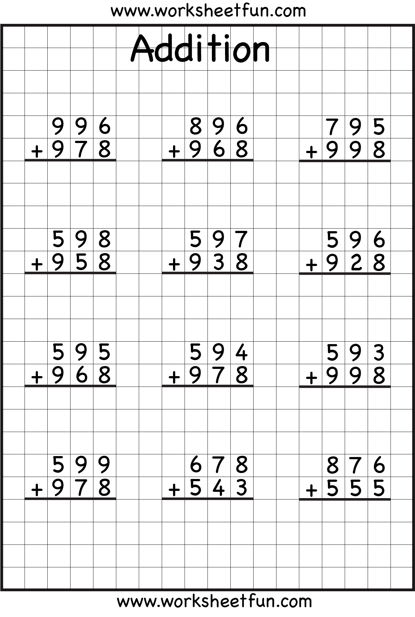 3 Digit Addition With Regrouping – Carrying – 6 Worksheets   Ejercicios de  calculo [ 1967 x 1324 Pixel ]