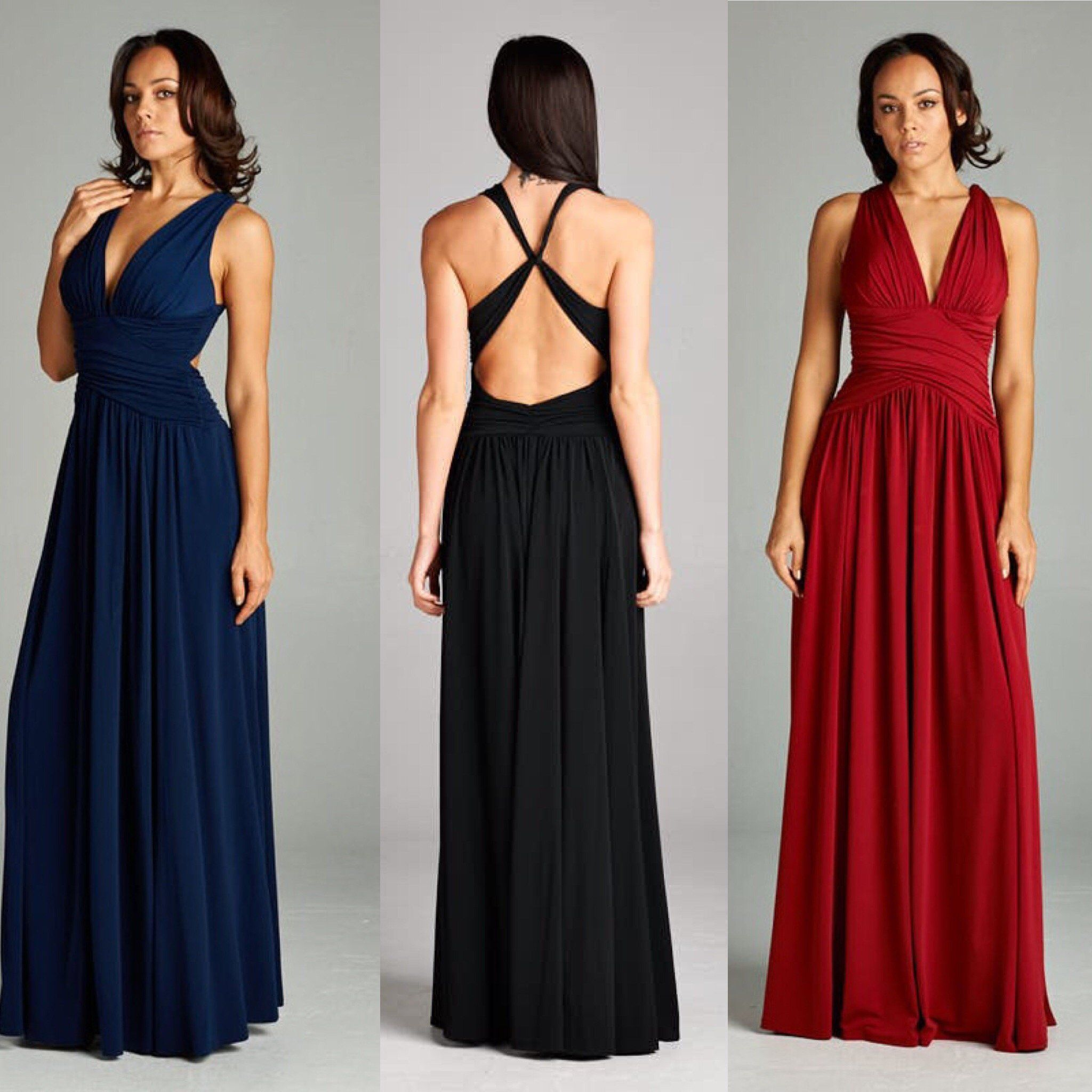 e5e89e5f886 Head turner V Neck gown with criss cross back. Ruched bodice with soft  gathers around the waist with extra fullness. Side slit above the knee adds  to the ...