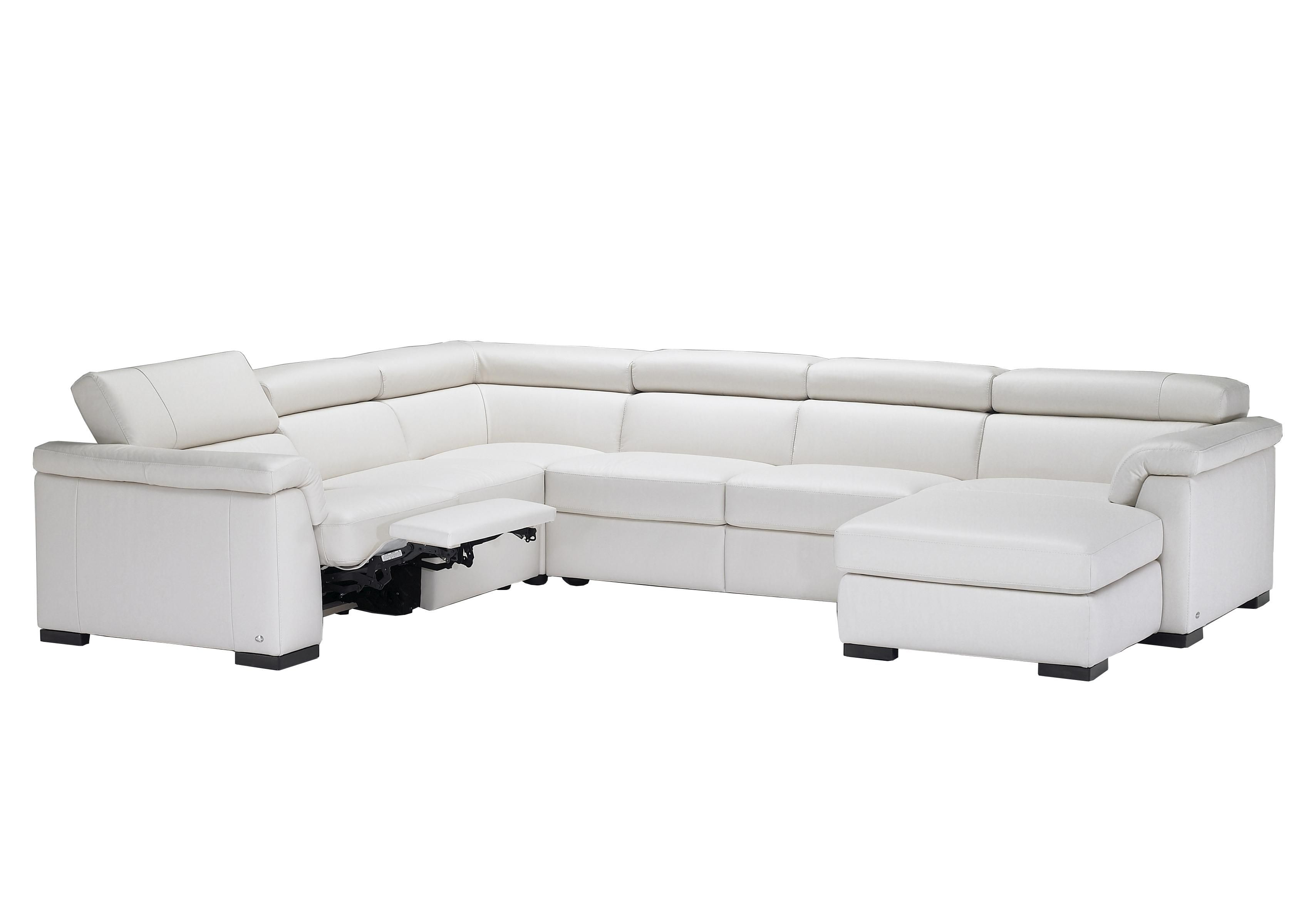 Natuzzi Editions B634 Contemporary Leather Sectional Sofa with RAF