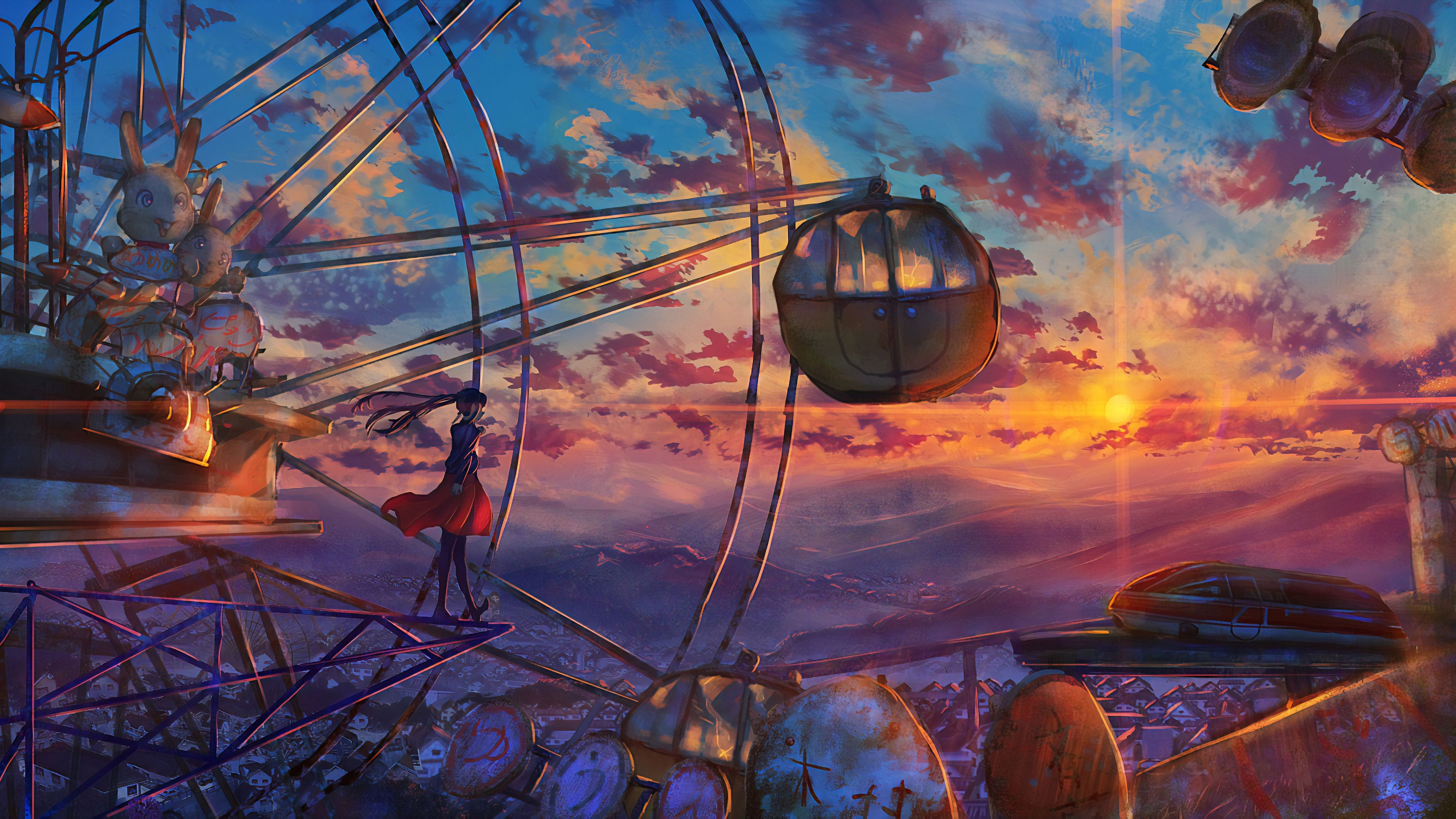 Anime Ferris Wheel Painting Hd Wallpapers Ferris Wheel Wallpapers Digital Art Wallpapers Artwork Wal In 2020 Anime Scenery Wallpaper Anime Scenery Scenery Wallpaper