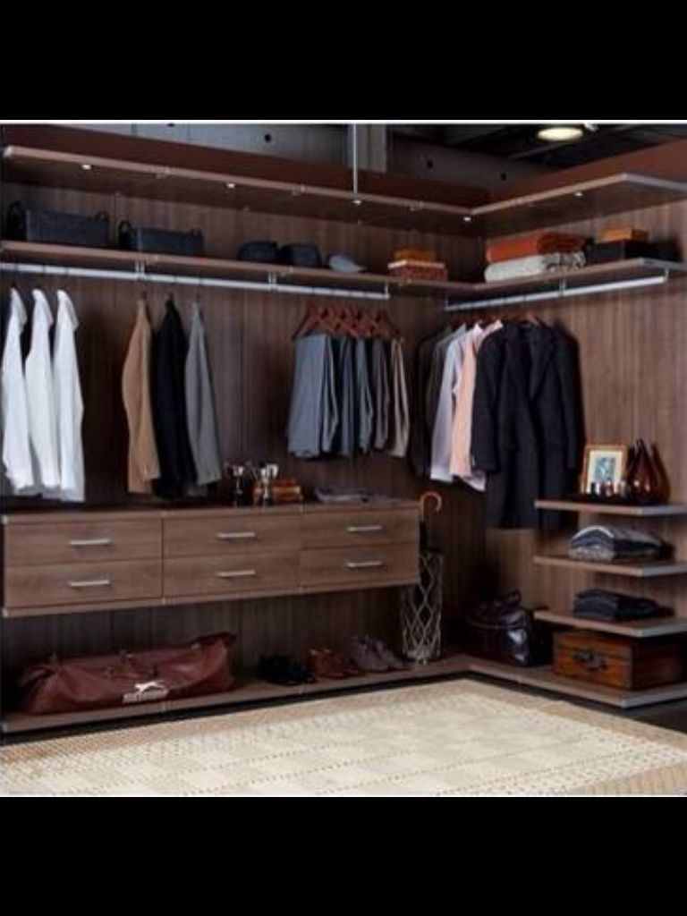 California Closets Walk In Closet Virtuoso System Roman Walnut Master Bedroom