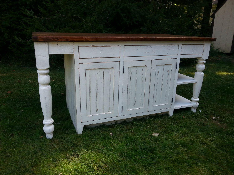 Antique Reclaimed Barn Wood Kitchen Island Turned Legs/Open Shelves W/Top   1.5