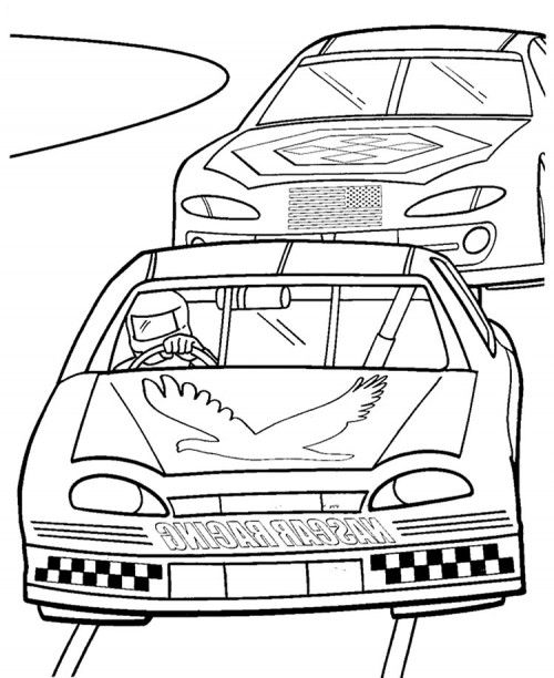 Two Nascar Racing Car Precede Each Other Coloring Page ...