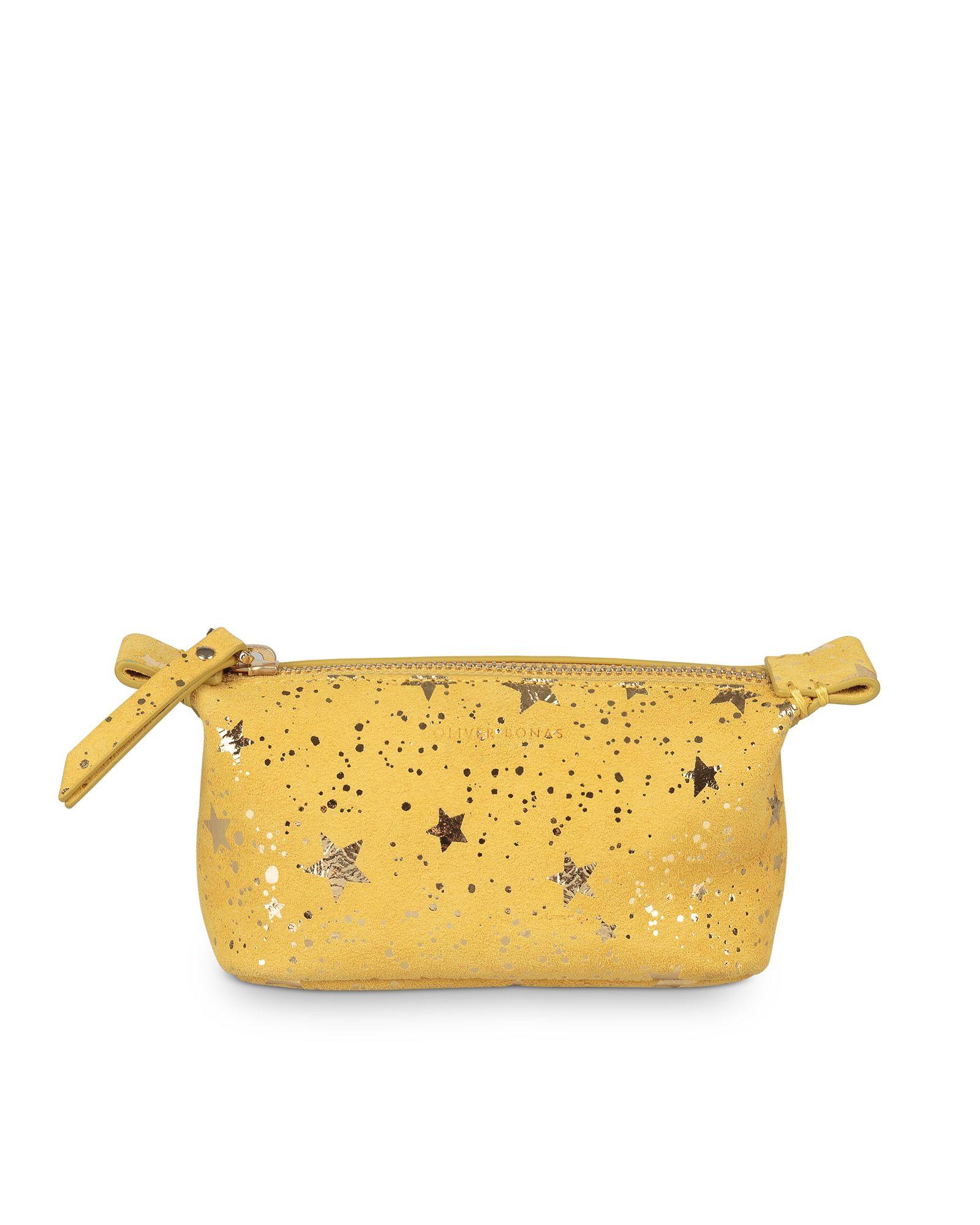 Zoya Star Print Yellow Leather Make Up Bag Mini Yellow Leather Bags Star Print