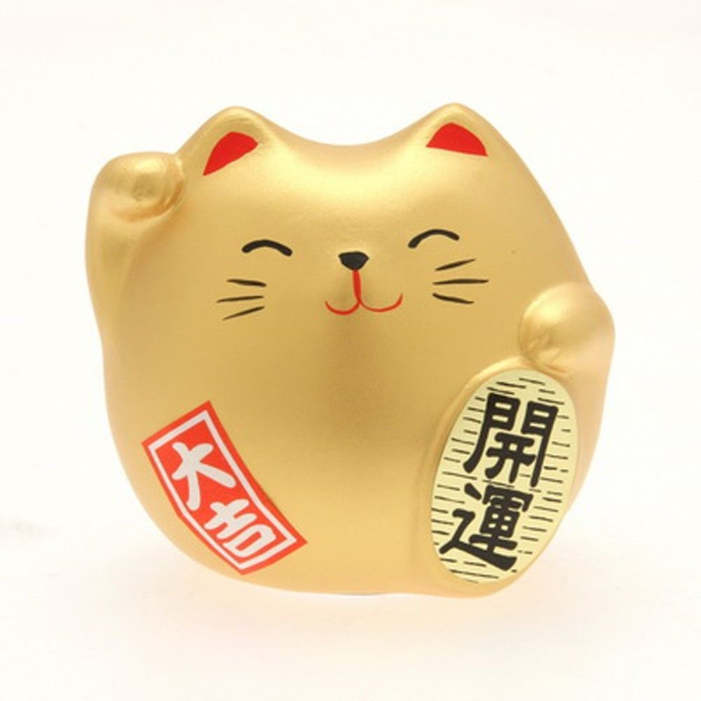 "Japanese 2/""H Gold Maneki Neko Lucky Cat Earthenware Rich /& Fortune Made in Japan"