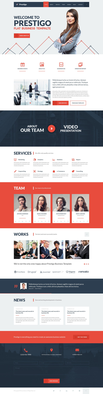 Prestigo flat business template web design pinterest web