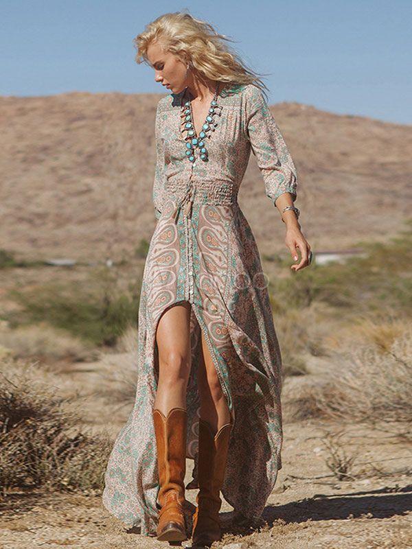 738d29ba3963 Long Sleeve Printed High splits BOHO Maxi Dress