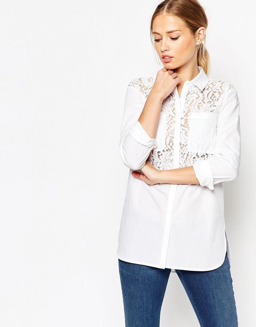 Asos lace insert white long sleeve shirt dress yo self pinterest