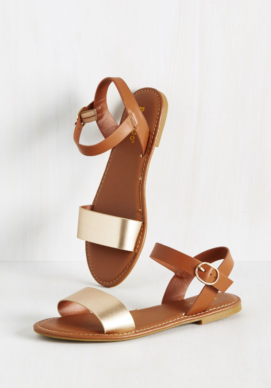 Are You Shore? Sandal. If its these vegan faux-leather sandals that are up for debate, youll give them a definite yes when you see em in the sun! #gold #modcloth
