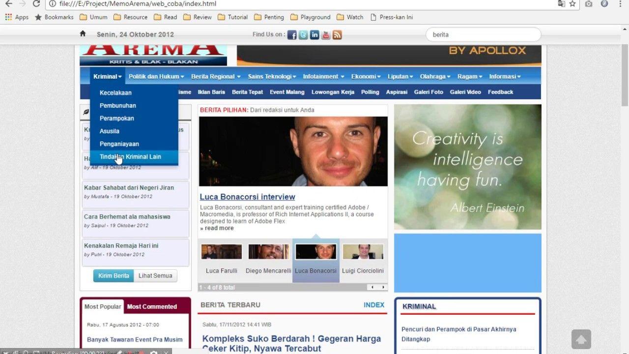 Desain Website Berita Dengan Bootstrap Portfolios Pinterest